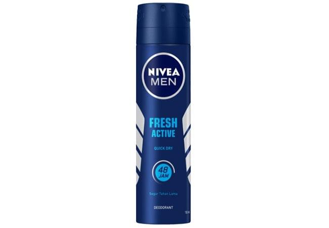 Nivea Men Deodorant Fresh Active Spray, deodorant spray bagus untuk pria