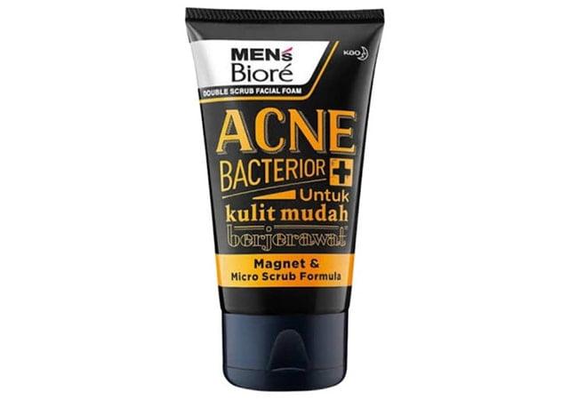 Mens Biore Anti Bacterior Double Scrub Facial Foam,sabun cuci muka pria untuk menghilangkan jerawat